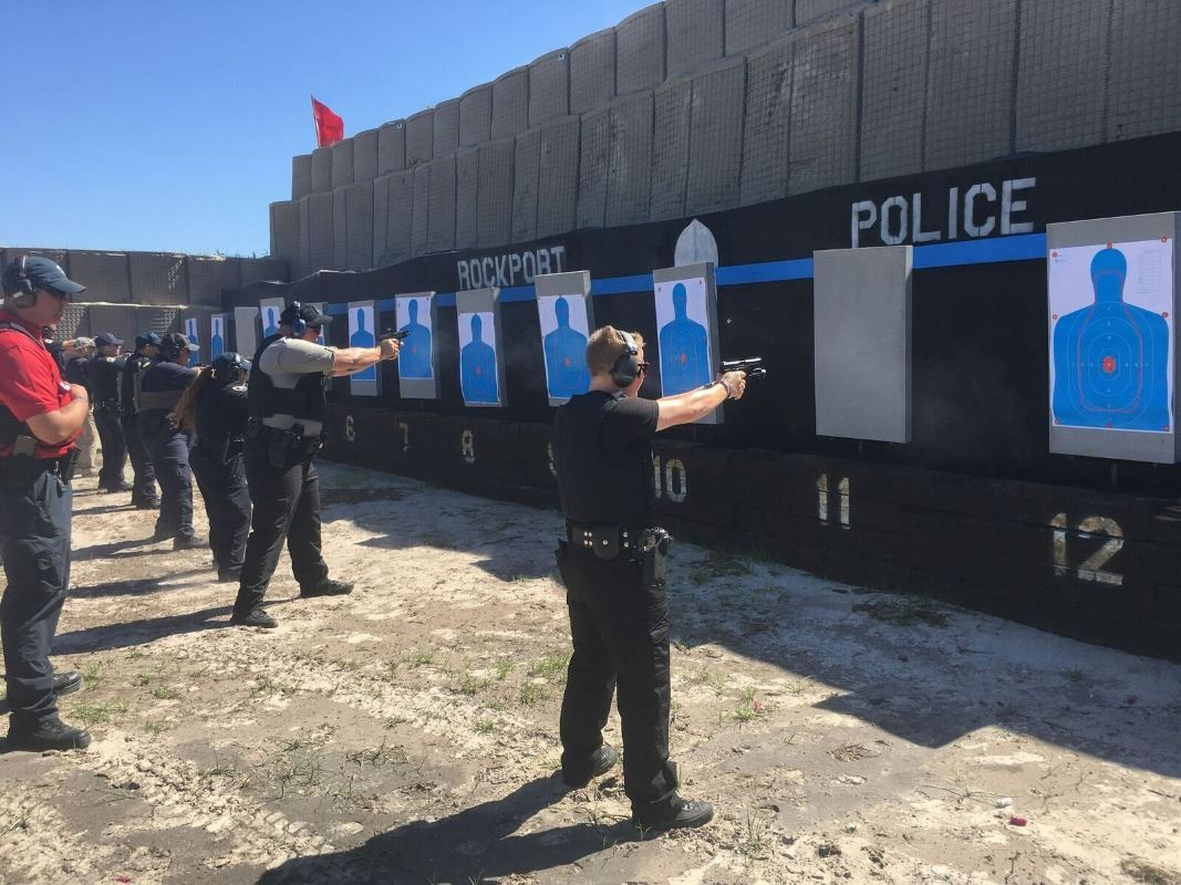 Police department training at firing range